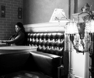 A midday patron takes in the quiet at Koffee Therapy on Franklin.